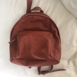 Super soft faux leather burnt red mini backpack
